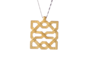 Alhambra Pendant - Islamic Filigree in Polished Gold Steel
