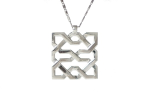 Alhambra Pendant - Islamic Filigree in Polished Silver