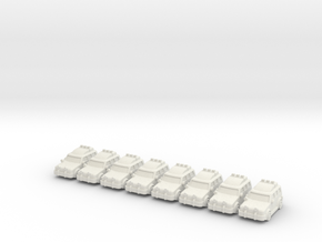 4x4 cars (8 pcs) in White Strong & Flexible