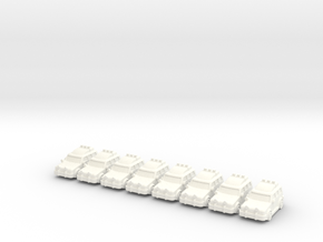 4x4 cars (8 pcs) in White Strong & Flexible Polished