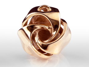 Rose Ball Pendant With Bail 20mm in Polished Bronze