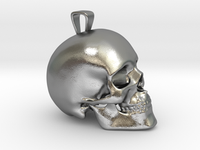 Skull Pendant in Natural Silver