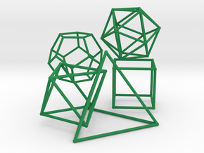 Five Platonic Solids (500 cc) in Green Processed Versatile Plastic