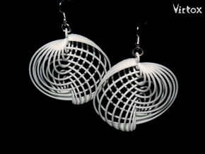 Running in Circles - Earrings in White Strong & Flexible Polished: Large
