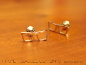 Hipster Glasses Cufflinks in Polished Silver