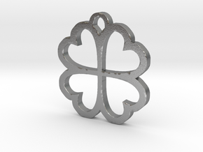 4 Leaf Clover Hearts Lucky St. Patricks Day Earing in Natural Silver