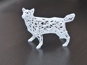 Low Poly Wireframe Husky [8cm Tall] in White Natural Versatile Plastic