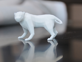 Low Poly Panther [4,5cm Tall] in White Natural Versatile Plastic