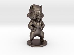 Cartoon Chipmunk. 8cm in Polished Bronzed Silver Steel