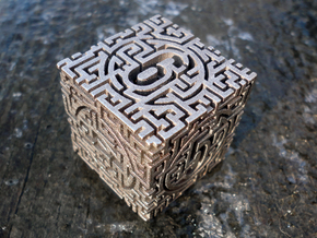 Labyrinthine Die6 in Polished Bronzed Silver Steel