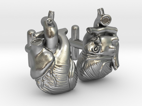Anatomical Heart Cufflinks Pair (Front and Back) in Natural Silver