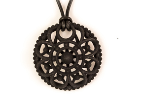 Mandala Pendant 3 in Black Natural Versatile Plastic