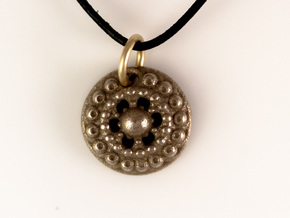 Mandala Pendant 4 in Polished Bronzed Silver Steel