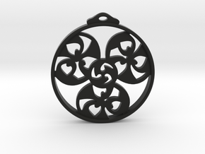 Triskele Pendant / Earring in Black Natural Versatile Plastic