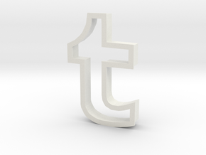 Tumblr logo cookie cutter in White Strong & Flexible