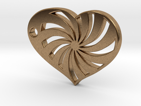Spiral Heart in Natural Brass