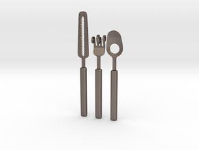 Knife Fork Spoon Set - Innovation vs. Utiltiy in Polished Bronzed Silver Steel