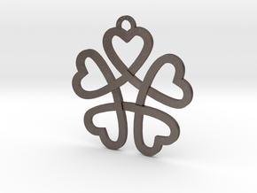 Heart necklace in Polished Bronzed Silver Steel