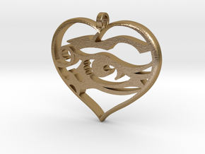 Heart and Soul in Polished Gold Steel