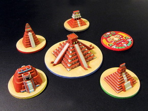 Mayan Pyramids and Calendar center (6 pcs) in White Processed Versatile Plastic