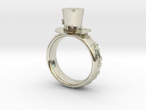 St Patrick's hat ring(size  = USA 6.5-7) in 14k White Gold