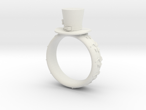 St Patrick's hat ring(size = USA 8) in White Natural Versatile Plastic