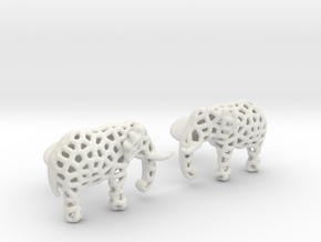 Elephant Cufflinks in White Natural Versatile Plastic