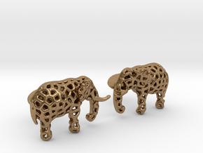 Elephant Cufflinks in Natural Brass