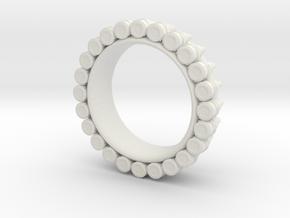 Bullet ring(size = USA 6.5-7) in White Natural Versatile Plastic