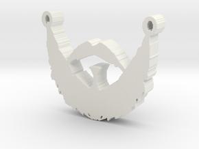 Beard Hipster Pendant in White Natural Versatile Plastic