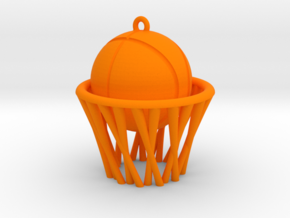 Basket pendant in Orange Processed Versatile Plastic