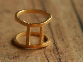 Gemini Ring - Zodiac Ring - Zodiac Jewelry in Matte Gold Steel
