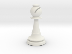 Inception Bishop Chess Piece (Heavy) in White Natural Versatile Plastic