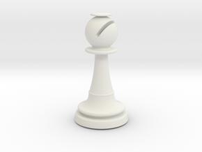 Inception Bishop Chess Piece (Heavy) in White Natural Versatile Plastic