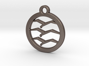 Gliding Badge Keychain in Polished Bronzed Silver Steel