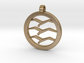 Gliding Badge Pendant in Polished Gold Steel