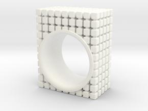 PIXEL RING - SIZE 7 in White Processed Versatile Plastic