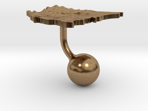 Nicaragua Terrain Cufflink - Ball in Natural Brass