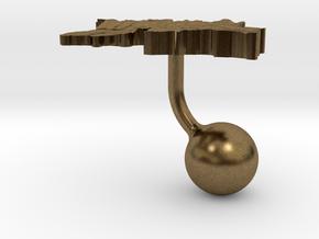 Tajikistan Terrain Cufflink - Ball in Natural Bronze