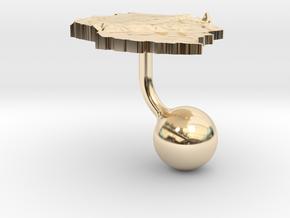 Tanzania Terrain Cufflink - Ball in 14K Yellow Gold