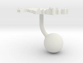 Kazakhstan Terrain Cufflink - Ball in White Natural Versatile Plastic