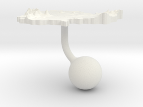 Cambodia Terrain Cufflink - Ball in White Natural Versatile Plastic