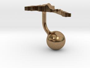 Eritrea Terrain Cufflink - Ball in Natural Brass