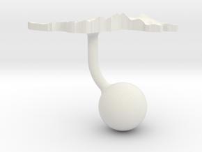 Malaysia Terrain Cufflink - Ball in White Natural Versatile Plastic
