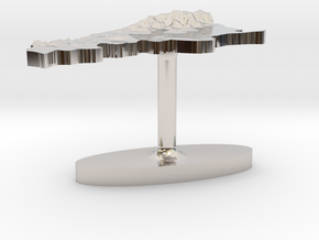 Argentina Terrain Cufflink - Flat in Platinum