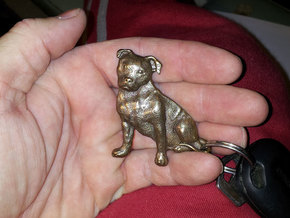 Staffordshire Bull Terrier Key Fob. in Polished Bronze Steel