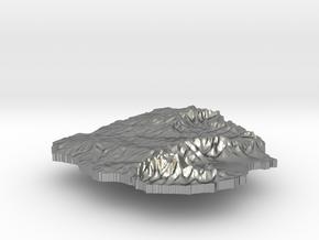 Uruguay Terrain Silver Pendant in Natural Silver