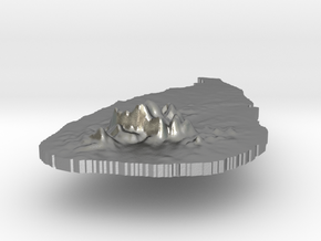 Sri Lanka Terrain Silver Pendant in Natural Silver