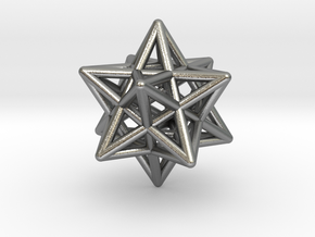 Stellated Dodecahedron Pendant in Natural Silver