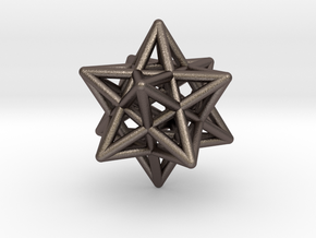 Stellated Dodecahedron Pendant in Polished Bronzed Silver Steel